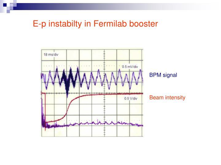 E-p instabilty in Fermilab booster