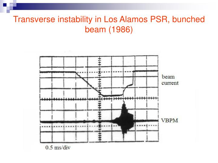 Transverse instability in Los Alamos PSR, bunched beam (1986)