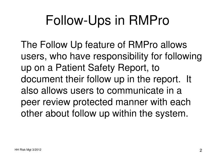 follow ups in rmpro n.