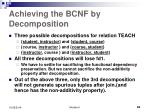 achieving the bcnf by decomposition1