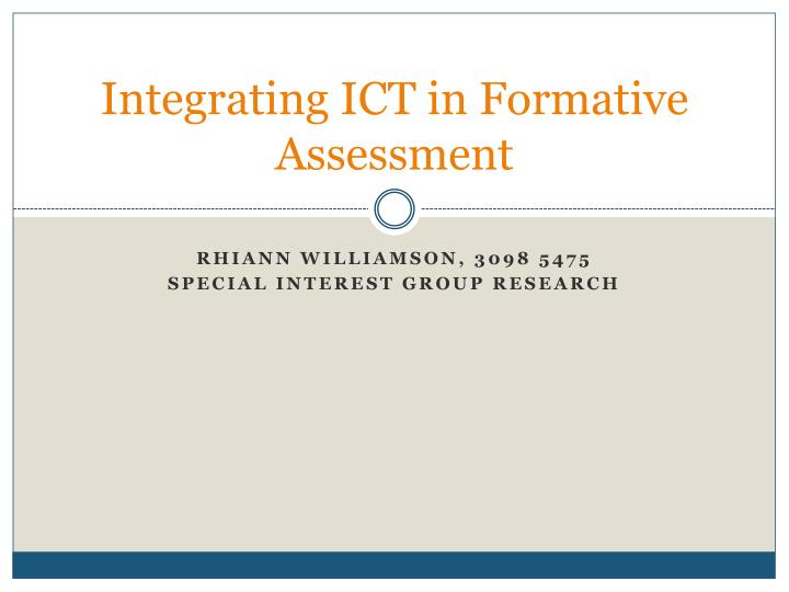 integrating ict in formative assessment n.