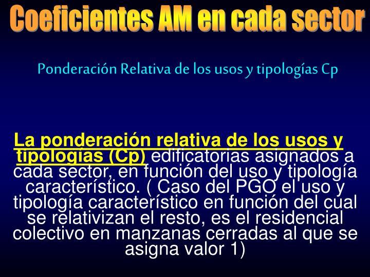 Coeficientes AM en cada sector