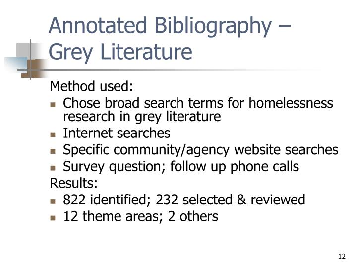 Annotated Bibliography –