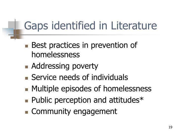 Gaps identified in Literature
