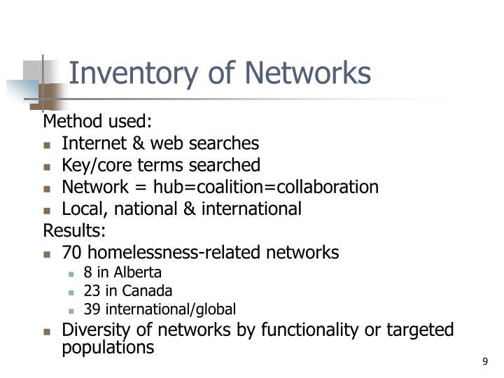 Inventory of Networks