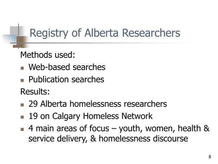 Registry of Alberta Researchers