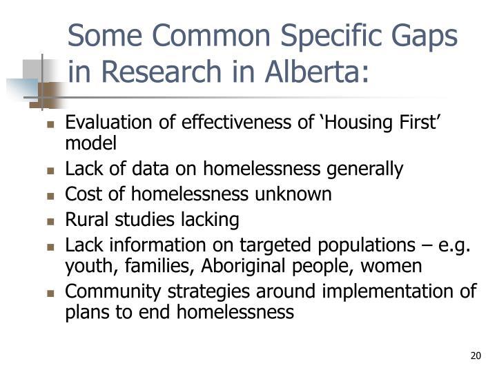 Some Common Specific Gaps in Research in Alberta: