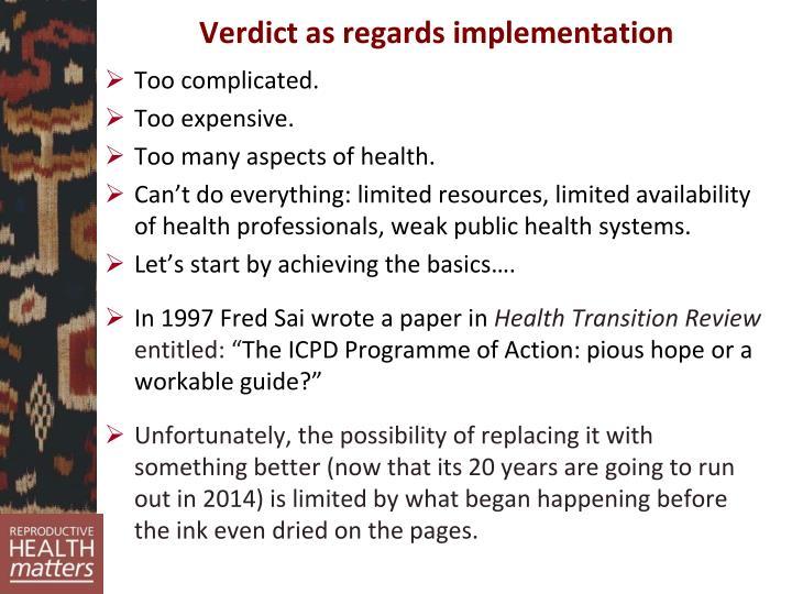 Verdict as regards implementation