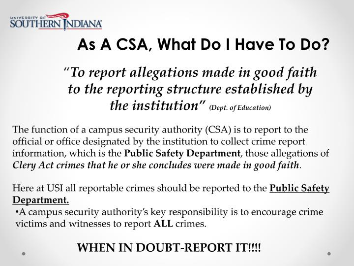 As A CSA, What Do I Have To Do?