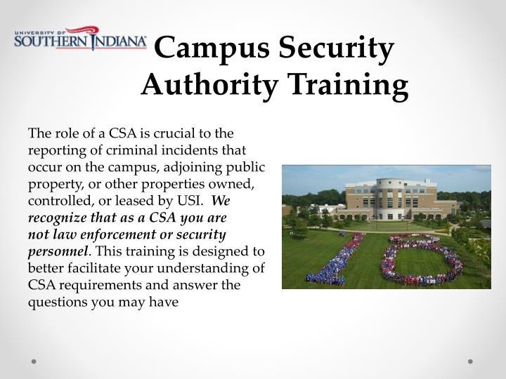 Campus Security Authority Training