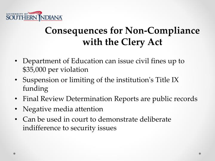 Consequences for Non-Compliance with the Clery Act