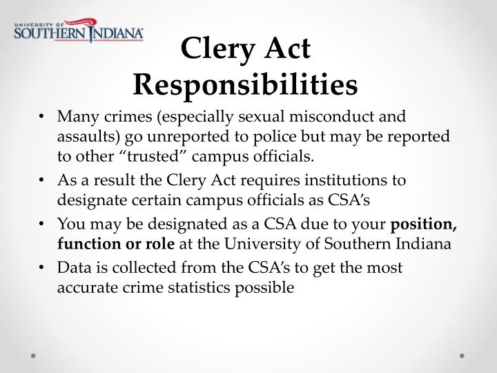 Clery Act Responsibilities