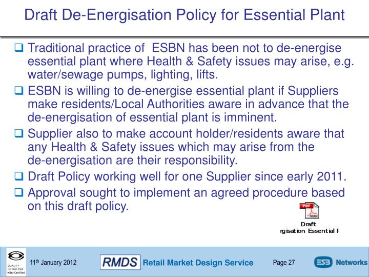 Draft De-Energisation Policy for Essential Plant