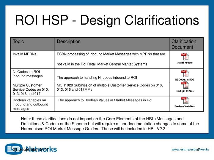 ROI HSP - Design Clarifications