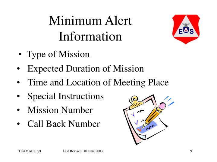 Minimum Alert Information
