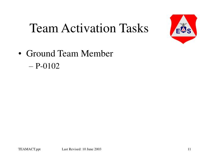 Team Activation Tasks