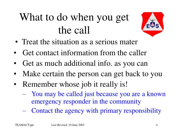 What to do when you get the call