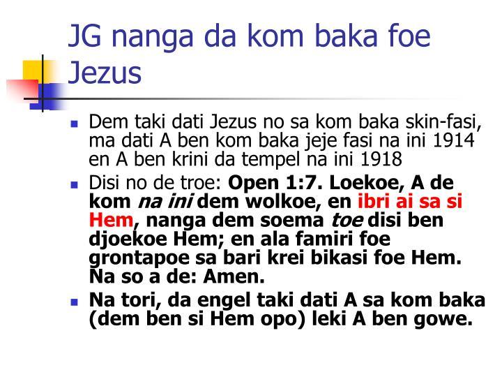 JG nanga da kom baka foe Jezus