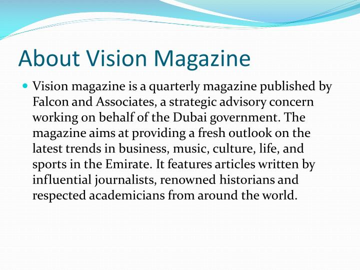 About vision magazine
