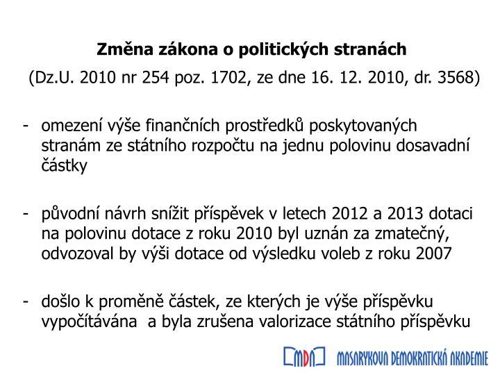 Změna zákona o politických stranách