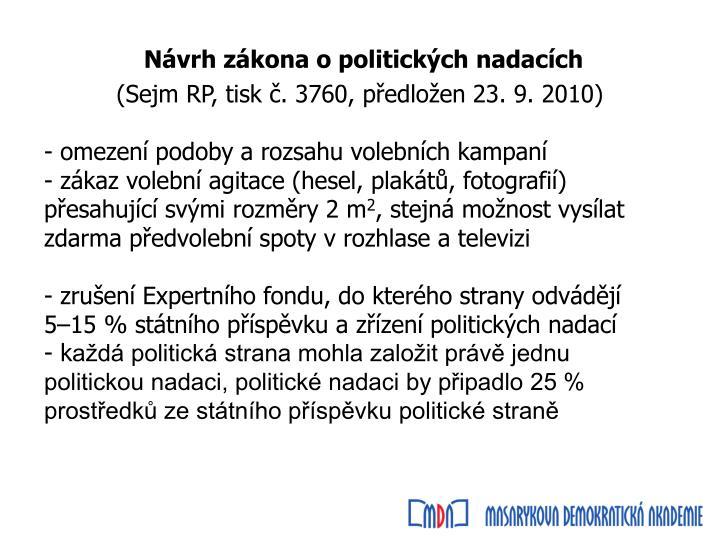 Návrh zákona o politických nadacích