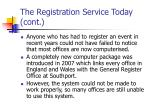 the registration service today cont