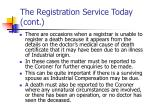 the registration service today cont8