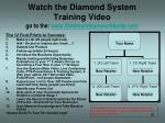 watch the diamond system training video go to the www thedreamteamworldwide com