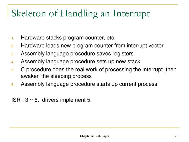 Skeleton of Handling an Interrupt