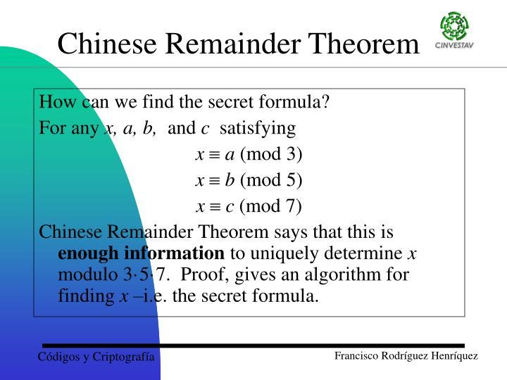 How can we find the secret formula?