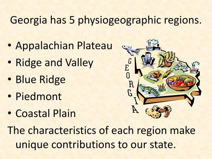 Georgia has 5 physiogeographic regions