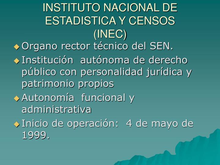 INSTITUTO NACIONAL DE ESTADISTICA Y CENSOS