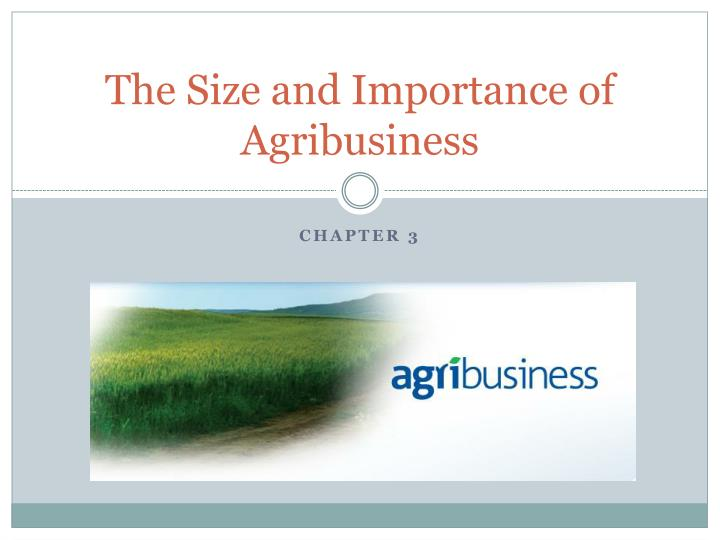 the size and importance of agribusiness n.