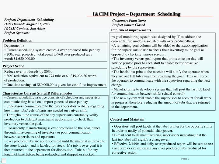 Project: Department  Scheduling