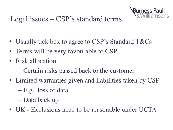 Legal issues – CSP's standard terms