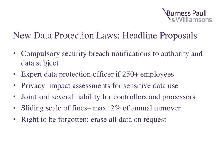 New Data Protection Laws: Headline Proposals