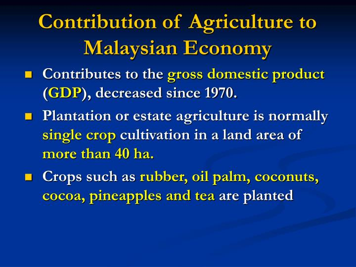 Contribution of Agriculture to Malaysian Economy