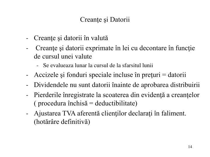 Creanţe şi Datorii