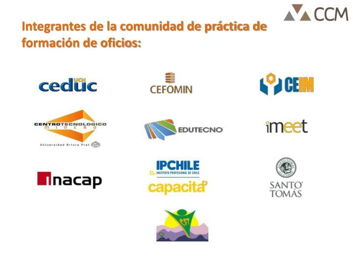 Integrantes de la comunidad de práctica de formación de oficios: