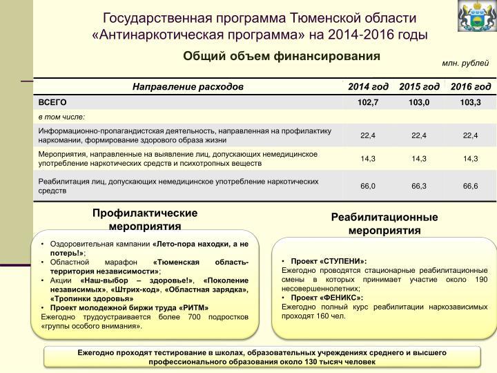 Государственная программа Тюменской области «Антинаркотическая программа» на 2014-2016 годы