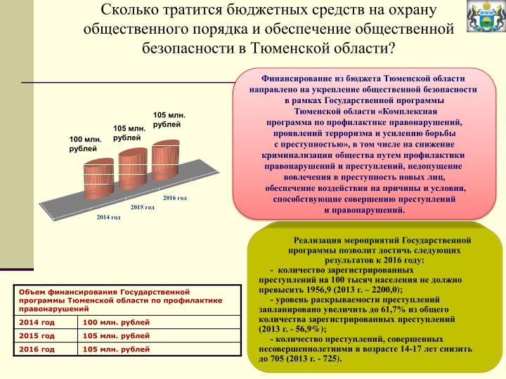 Сколько тратится бюджетных средств на охрану общественного порядка и обеспечение общественной безопасности в Тюменской области?