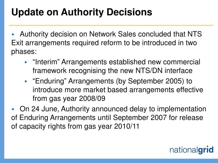 Update on authority decisions