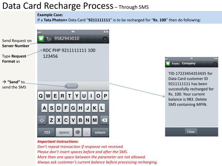 Data Card Recharge Process