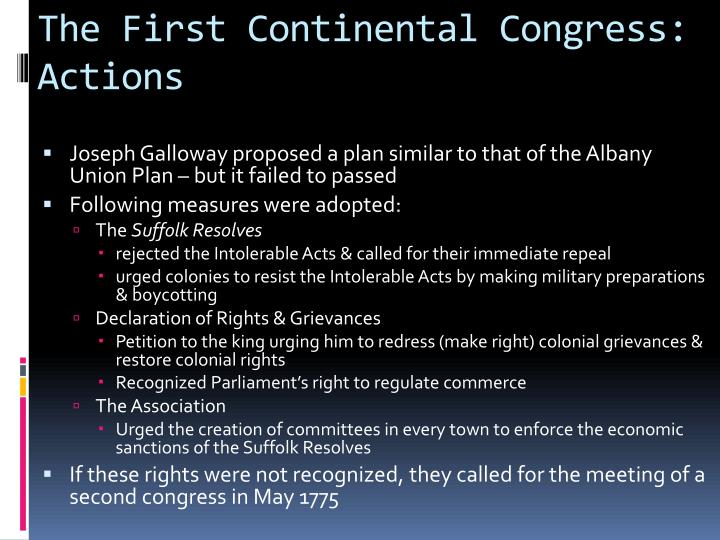 The First Continental Congress: Actions