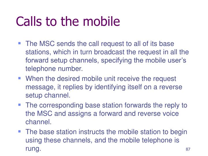 Calls to the mobile