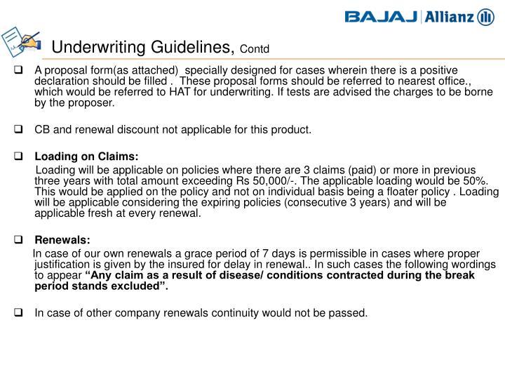 Underwriting Guidelines,