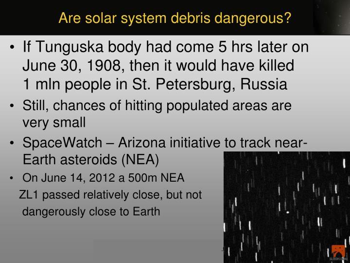 Are solar system debris dangerous?