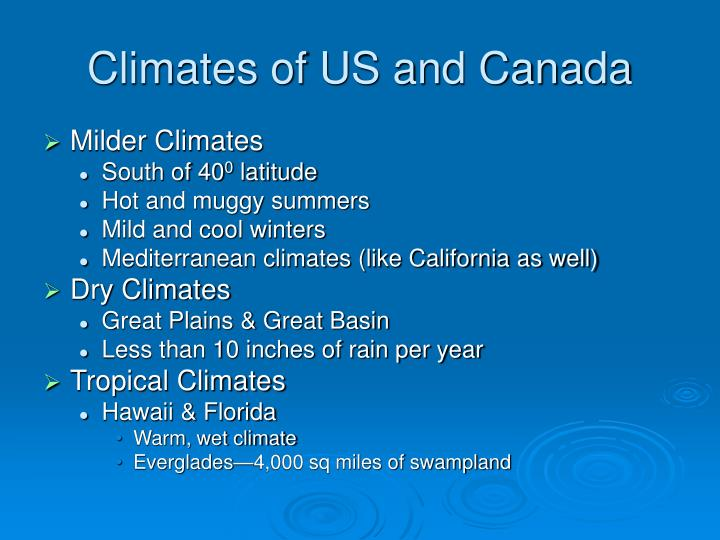 Climates of US and Canada