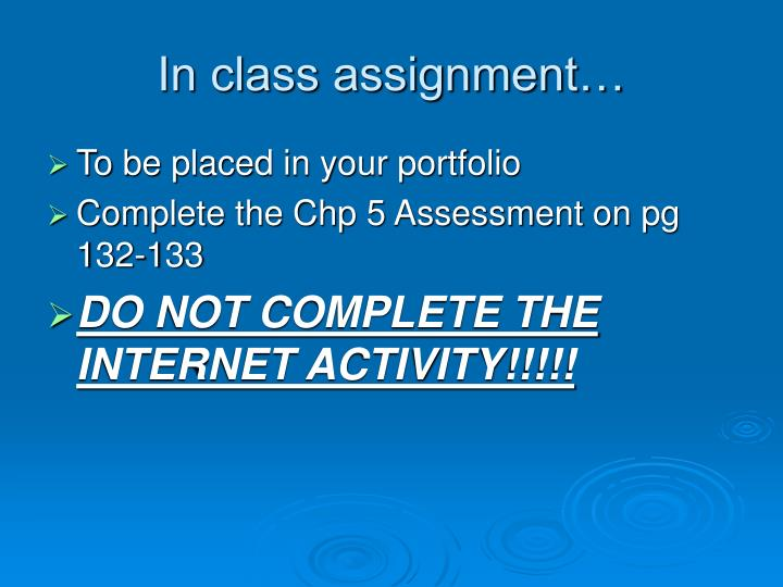 In class assignment…