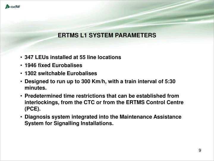 ERTMS L1 SYSTEM PARAMETERS